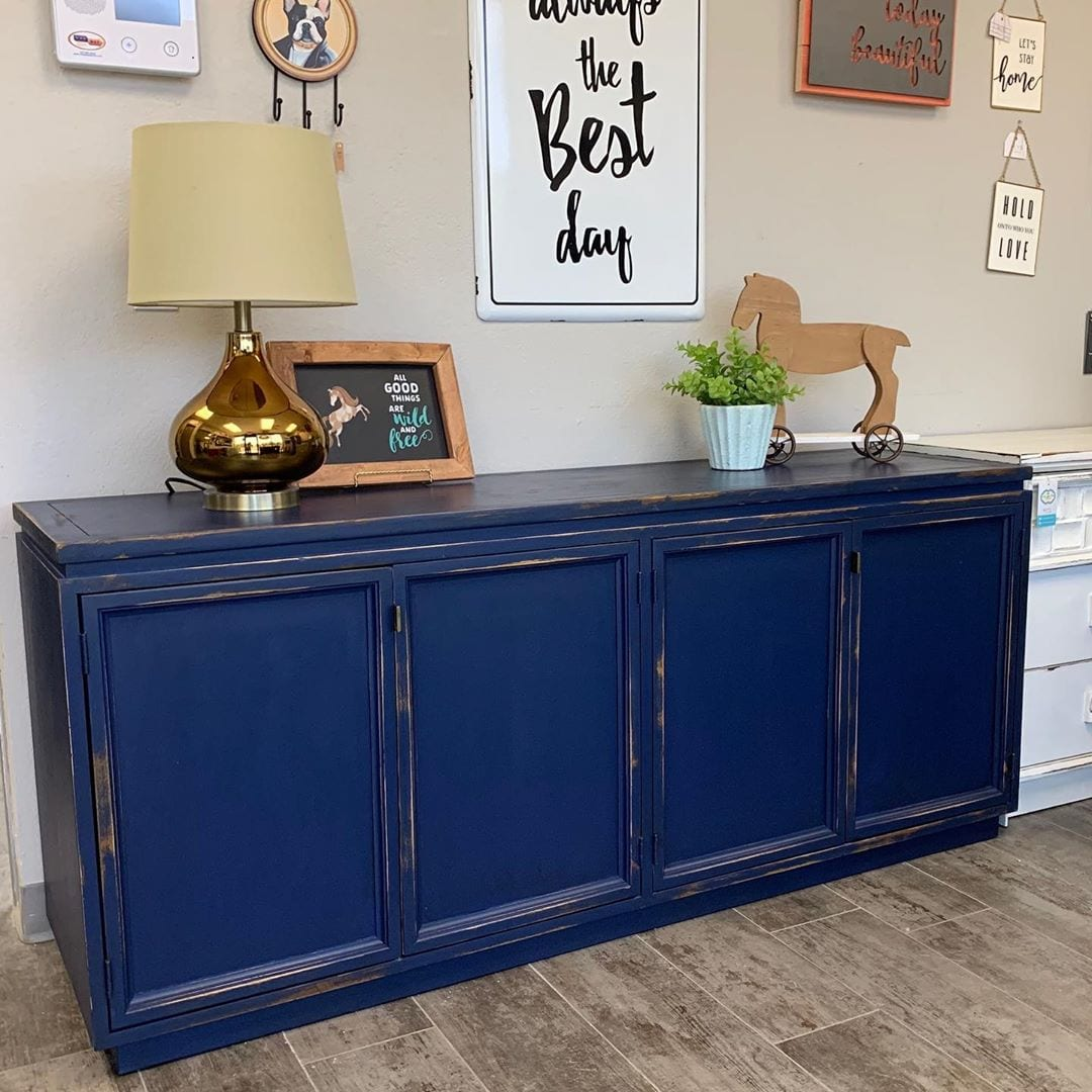 Dark Blue Distressed Sideboard available at furniture store near me in Gilbert AZ