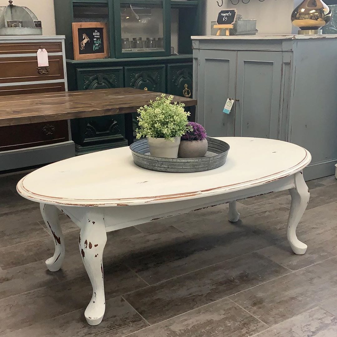 Shabby Chic Distressed White Oval Coffee Table