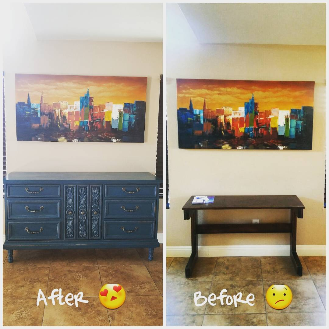 Refurbished Sideboard Before and After