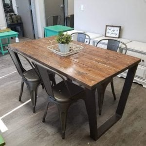Wood Plank Table and Chairs