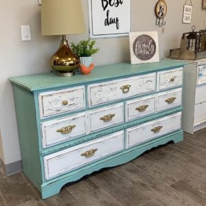Aqua and White Painted Dresser with Accessories