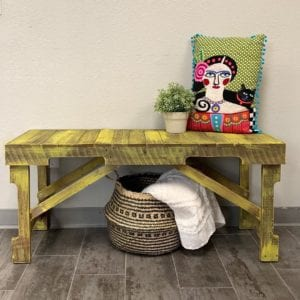 Rustic Yellow Wood Bench with Freda Khalo Pillow