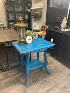 Distressed Blue Side Table