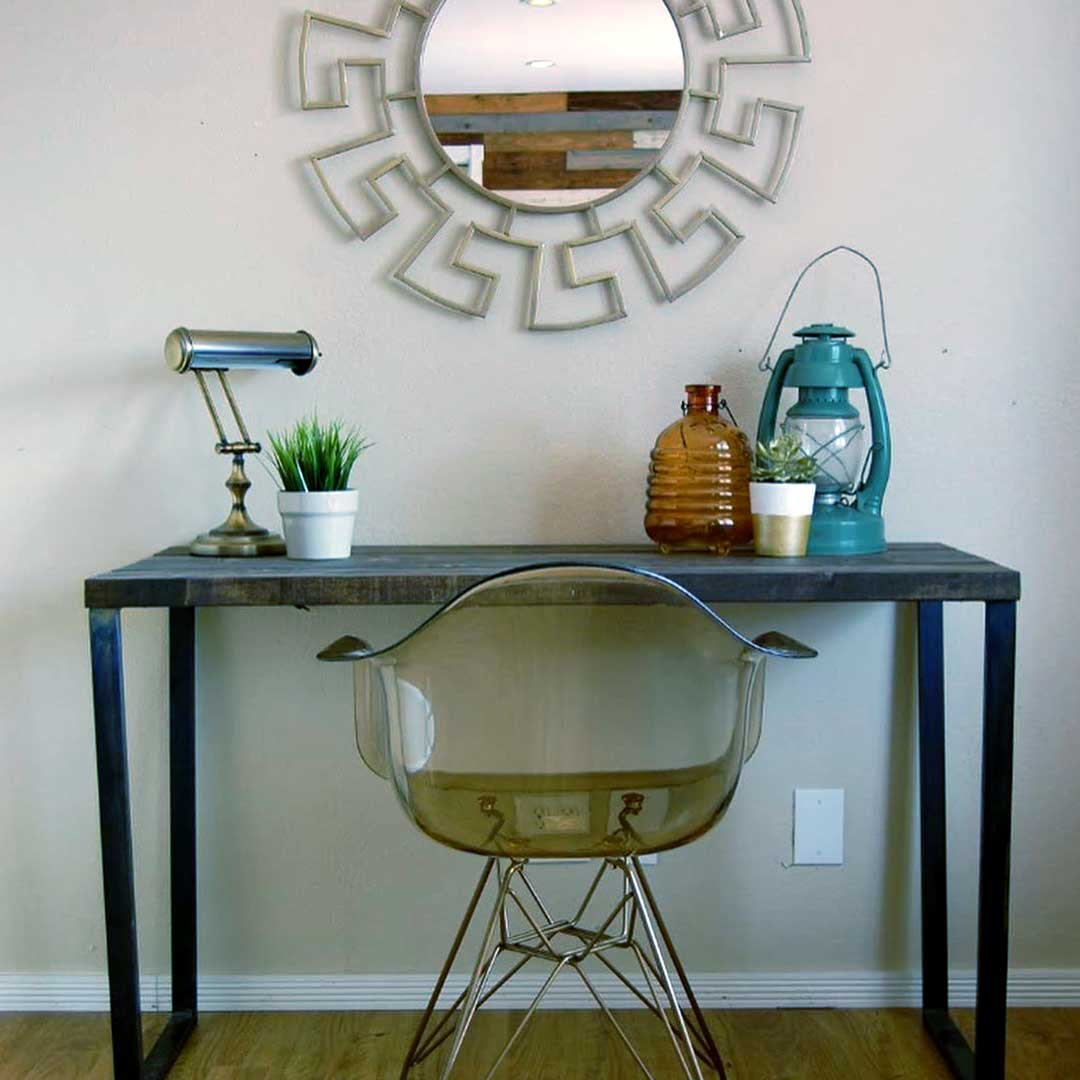 Desk with Mirror, Chair and Home Decor Pieces