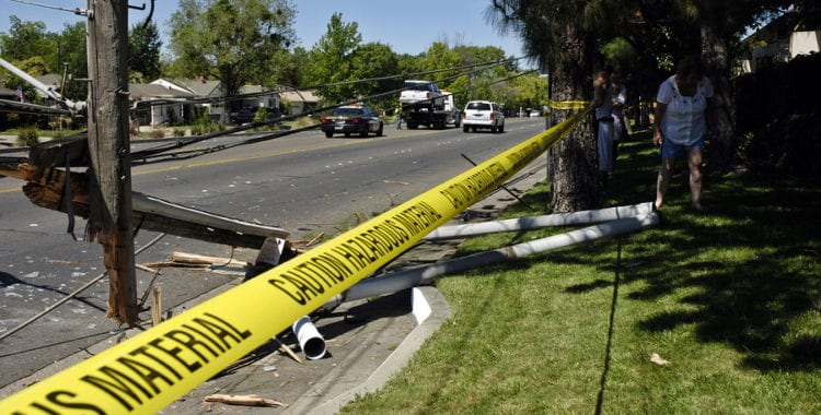 Photo of a utility pole down after a car crashed into it. First offense DUI Arlington VA